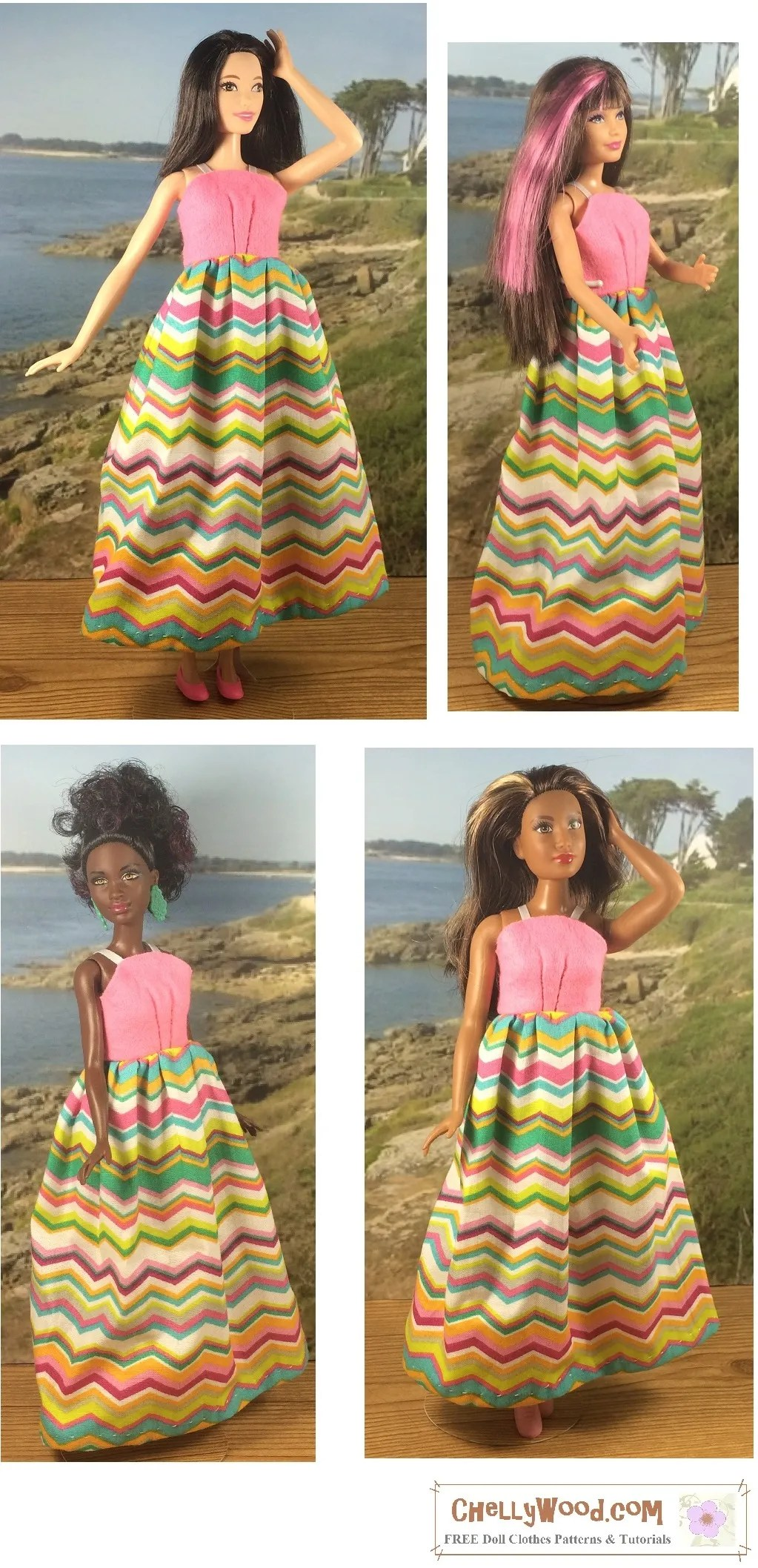 Please click on the link in the caption, to navigate to the page, where you can download this free pattern and watch tutorial videos showing how to make this summer sundress that fits many fashion dolls). The image shows a Tall Barbie, a Skipper, a Petite Barbie, and a Curvy Barbie doll, all modeling the same dress with a pink strappy bodice top and a multi-colored maxi skirt with zigzag stripes. The dress uses ribbon straps at the top of the solid-colored pink felt bodice. This pattern is super simple, and will make an easy first sewing project for beginners who are just learning to sew.