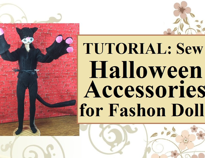 "Image shows Mattel's Made-to-Move Barbie® wearing a black cat costume, complete with felt mask, mittens, tail, bodysuit, and stretchy tights. The text overlay reads, ""Tutorial: sew Halloween accessories for fashion dolls."" Caption below the image reads, ""Visit ChellyWood.com for free, printable sewing patterns for dolls of many shapes and sizes."""