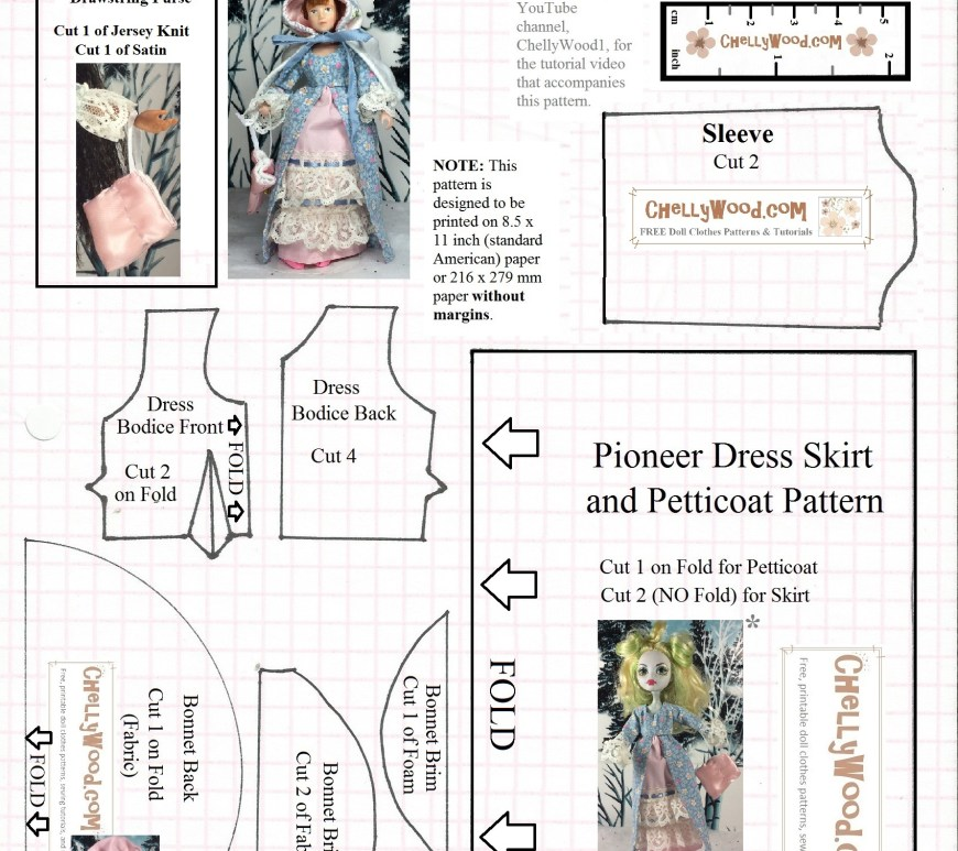 "Image is a printable sewing pattern for a ""pioneer"" style of dress with a petticoat, drawstring purse, and bonnet. The finished dress is shown on a Monster High doll and two eight-inch dolls (Breyer doll and World of Love dolls). The image is watermarked ""ChellyWood.com: free printable sewing patterns and tutorials for doll clothes that fit dolls of many shapes and sizes"")."