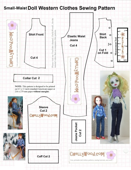 """Image is a free, printable sewing pattern for small dolls' long sleeve shirt and elastic-waist pants. Image shows a monster high doll wearing the pants and a Breyer rider doll wearing both the pants and shirt. Image says to enlarge the pattern to fit a full-sized piece of american printer paper before printing. The watermark says """"ChellyWood.com: free printable sewing patterns for dolls of many shapes and sizes."""""""