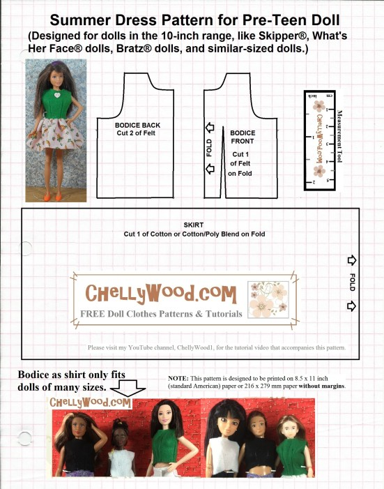 Image shows an easy-to-sew free printable sewing pattern for fashion dolls like Skipper, Barbie, Momoko, and Lammily. This pattern is free and printable at ChellyWood.com