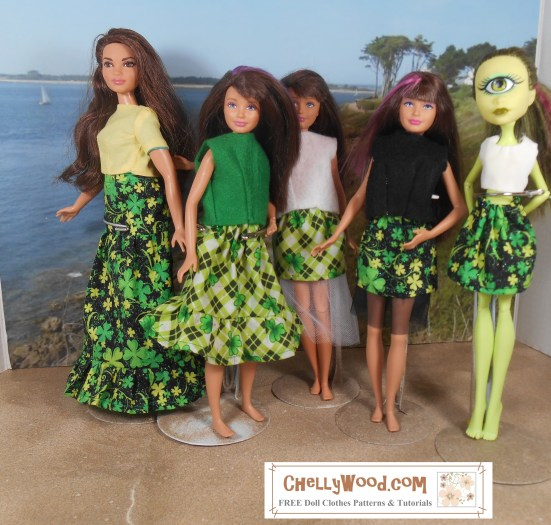 "Visit ChellyWood.com for FREE printable sewing patterns for dolls of many shapes and sizes. Image shows Curvy Barbie, Mattel's Skipper, and an Iris Clops Monster High doll in a seascape diorama. Each of the dolls is wearing handmade doll clothes in St. Patrick's Day patterns of green, black, and white. The adorable skirts are printed with tiny shamrocks and some skirts are layered with tulle. Overlay says, ""ChellyWood.com: Free printable sewing patterns for dolls of many shapes and sizes."""