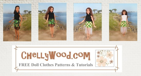 "Image shows Barbie, Skipper, and Curvy Barbie all wearing the same skirt design, which has been hand-made using the pattern found at ChellyWood.com (URL is on the watermark and also says, ""Free doll clothes patterns and tutorials)."