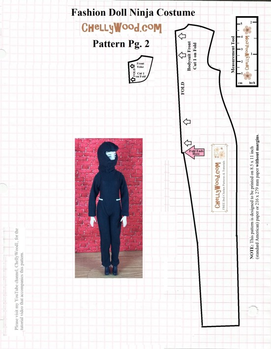"""Image shows Made-to-Move Barbie wearing a ninja mask and ninja uniform. This is the second of two free printable sewing patterns that fit 11.5 inch fashion dolls like Barbie. Overlay says """"ChellyWood.com: free printable sewing patterns for dolls of many shapes and sizes."""" Pattern must be printed on American printer paper with no margins, to fit doll using 1/4 inch sewing seams."""