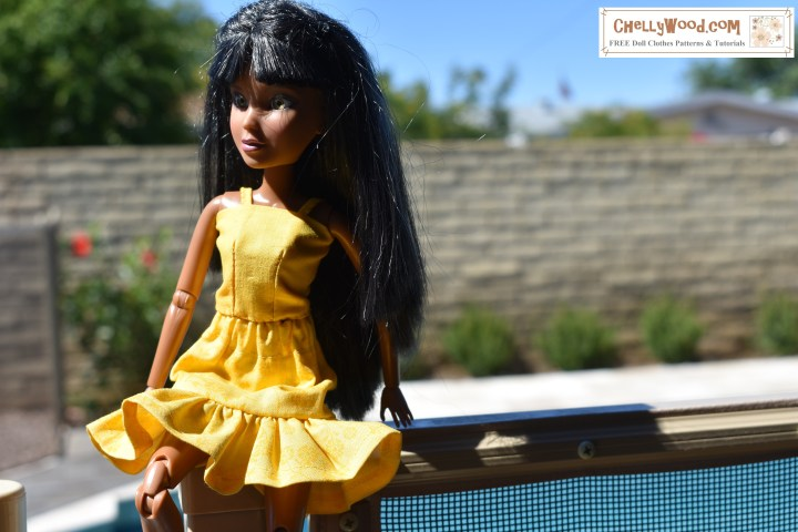 The image shows a Spin Master Liv doll wearing a short skirt with a ruffle and a matching tank top with straps. Click on the link in the caption to locate the free printable sewing patterns for making this outfit for your Liv dolls.