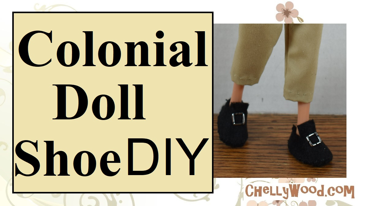 """The photo shows two doll feet wearing a pair of Colonial style black felt doll shoes with a bright silver buckle. The overlay says, """"Colonial doll shoe D.I.Y."""""""