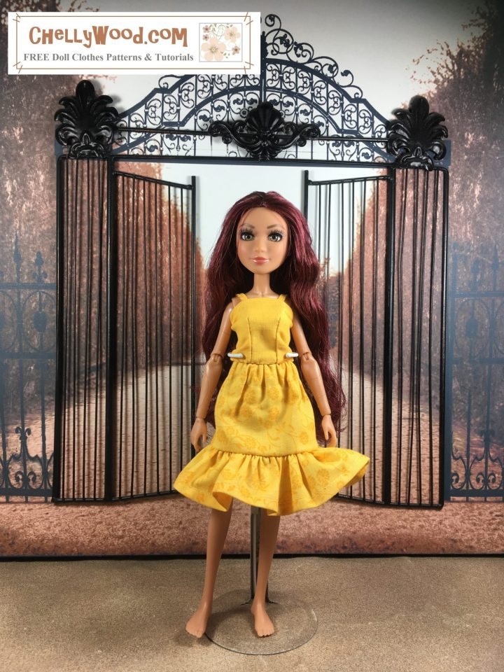 The image shows a Project MC Squared doll modeling a strappy summer top with an elastic-waist skirt that has a flowing ruffle. The entire outfit is made of yellow cotton fabric. The doll stands in front of a garden gate.