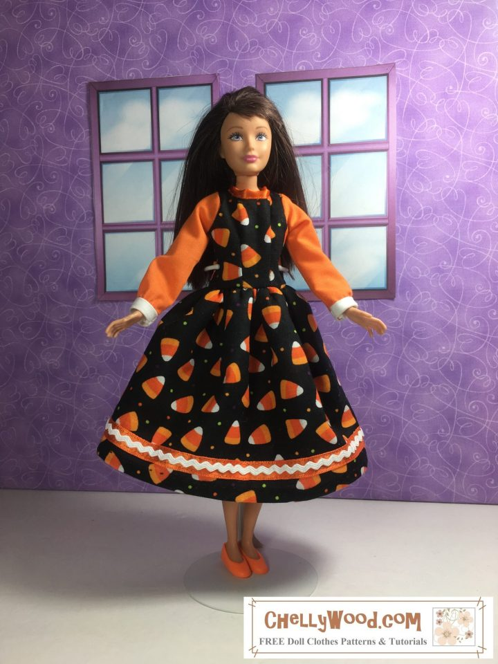 Would you like to make this pretty party dress for your 10 inch doll like Skipper? Click the link in the caption to navigate to the page where you will be able to download that free printable pattern.