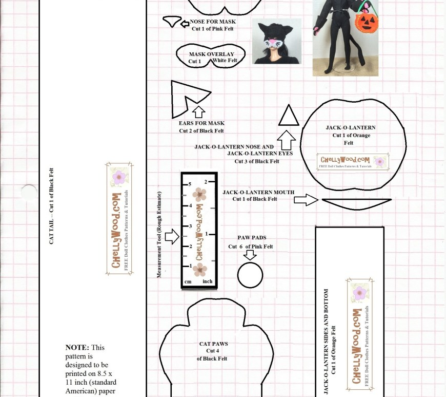 Visit ChellyWood.com for free, printable sewing patterns for dolls of many shapes and sizes. Image shows a pattern for the felt cat mask, felt mittens, felt tail pattern, and felt pumpkin / jack-o-lantern candy basket that are shown in the image of a fashion doll wearing a cat costume and carrying a jack-o-lantern candy basket for Halloween celebrations. This pattern, and the video tutorial that shows how to make it (along with all the free sewing patterns) are found at ChellyWood.com.