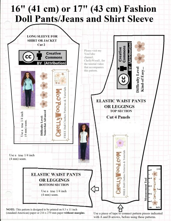 "Please visit ChellyWood.com for free, printable sewing patterns for dolls of many shapes and sizes. Image shows one sleeve and a complete pants pattern for 17 inch dolls like Mattel's Endless Hair 17-inch Barbie, 17"" Tonner dolls, 17"" FibreCraft Dolls, and 17 inch BJD's (ball jointed dolls)."