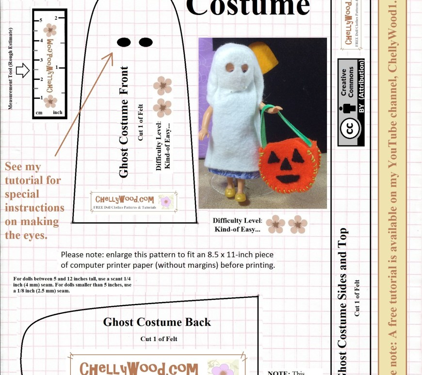 Visit ChellyWood.com for free, printable sewing patterns for dolls of many shapes and sizes. Image shows a fairly easy sewing pattern for a ghost costume for small dolls, like doll-house sized dolls ranging from Polly Pocket to Chelsea dolls, to many other dollhouse-sized dolls in miniature. The pattern itself is meant to be used with felt fabric, and is marked with the URL ChellyWood.com (the pattern designer's website) and a creative commons attribution mark.