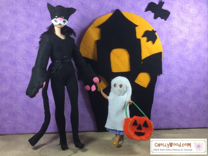 "Visit ChellyWood.com for free, printable sewing patterns for dolls of many shapes and sizes. Image shows a Made-to-Move Barbie wearing a Cat costume and a Polly Pocket wearing a ghost costume. Both costumes are hand-sewn. The Polly Pocket doll carries a jack-o-lantern, and the two dolls stand before a felt haunted house with a full moon rising behind it. The ground at their feet is sandy. Overlay says, ""ChellyWood.com: free printable sewing patterns for dolls of many shapes and sizes."""