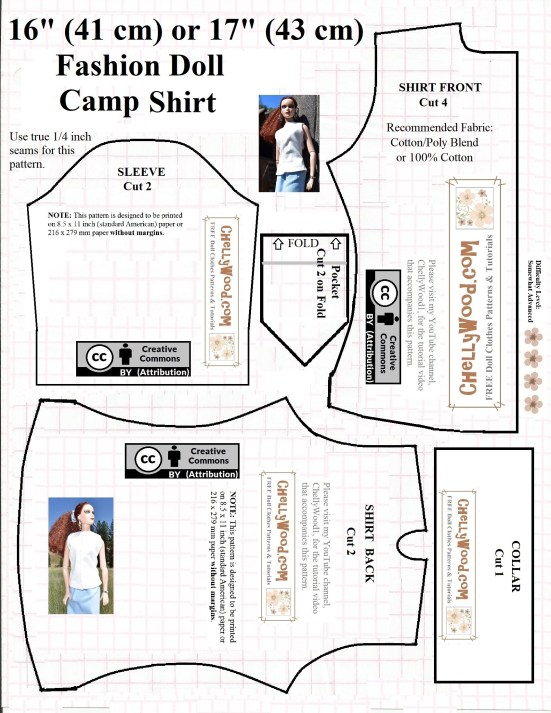 Visit ChellyWood.com for free, printable sewing patterns and tutorials for dolls of many shapes and sizes. Image shows a free, printable sewing pattern for a sleeveless shirt or camp-style short-sleeved shirt that fits 16-inch or 17-inch fashion dolls. Overlay offers the website where matching video tutorials can be found: ChellyWood.com