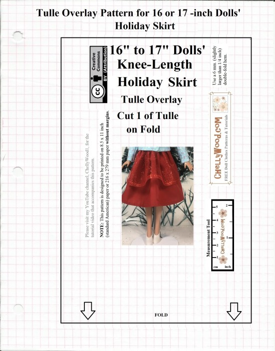 "Image shows a free, printable sewing pattern for the tulle overlay that goes with a flowing red holiday skirt designed to fit 16"" and 17"" dolls as a knee-length flowing skirt. This free printable sewing pattern is designed by Chelly Wood. Her website offers free, printable sewing patterns for dolls of many shapes and sizes. The pattern is marked with a Creative Commons Attribution symbol, which means you may copy it, post it, pin it, tweet it, and share it via various social media platforms, as long as you tell where you got the free pattern."
