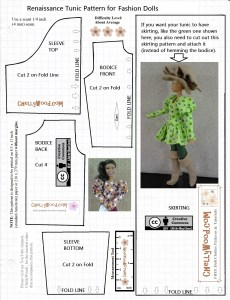 """Please visit ChellyWood.com for FREE printable sewing patterns for dolls of many shapes and sizes. Image shows a printable sewing pattern for making a """"Renaissance tunic... for fashion dolls."""" There are images of two of Mattel's Barbie dolls wearing the tunic. One doll wears the tunic with a sort of skirting; the other wears the tunic in a shorter version without the skirting. Overlay offers the website: ChellyWood.com as a place to find """"free doll clothes patterns and tutorials""""."""