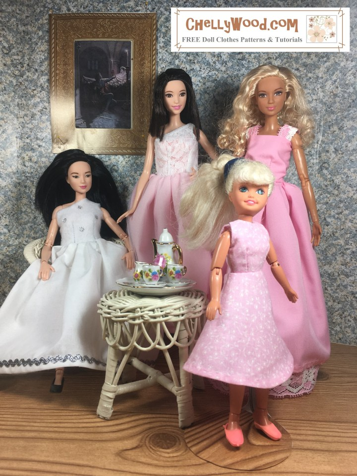 Image shows Mattel's Made-to-Move Barbie wearing a wedding dress (handmade with one-shoulder style), Mattel's Tall Barbie wearing a maid of honor gown, Mattel's made-to-move Barbie dolls wearing prom style dresses, and Mattel's Stacie doll wearing a flower girl's A-line dress. All of the dresses were designed and hand-sewn by Chelly Wood, and patterns are available at ChellyWood.com (free and printable sewing patterns for making all wedding, prom, and quinceanera dresses shown in the image). The dolls are seated and standing in an elegant 1:6 scale diorama, displaying their dresses in lovely pinks and whites. The furniture in the diorama is made of wicker. There is a gold-framed classical painting on the wall behind them. In the center of the room, the wicker table holds a porcelain tea set in 1:6 scale. The dolls look at the camera expectantly, and they are elegantly posed as if for wedding photography.