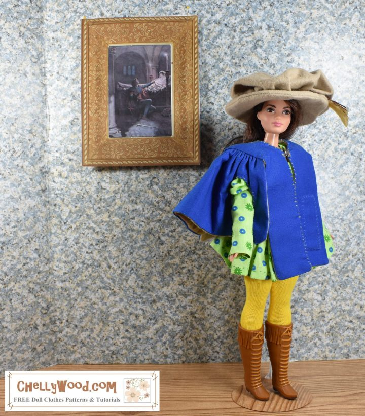 The image shows a Curvy Barbie wearing handmade doll clothes which include a musketeer style hat with feather, a musketeer-style jacket, a tunic, tights, and rubber boots. To make the cloth portions of this musketeer costume for your dolls, please click on the link in the caption.