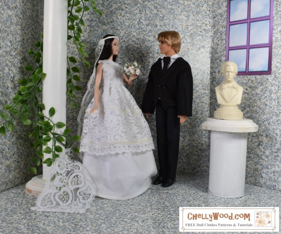 "Please visit ChellyWood.com for FREE printable sewing patterns for dolls of many shapes and sizes. Image shows Mattel's fashionista tall Barbie dressed in a wedding gown with veil and Mattel's fashionista Ken wearing a handmade felt dinner jacket with lapels, a collared dress shirt, a tie, and black pants/trousers. The two dolls stand in an elegant but simple 1:6 scale diorama that includes a window on one wall, a bust of a musician, and a pillar with climbing vines surrounding it. The two dolls seem to look at one another lovingly, as two dolls who are very much in love on their wedding day! In the lower-right corner of the image, a watermark says, ""ChellyWood.com: free printable doll clothes patterns and tutorials."""