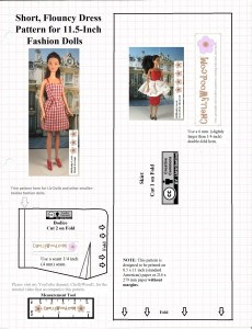 "Image shows a bodice and skirt pattern for a summer dress to fit 11.5 inch fashion dolls like Barbie. overlay says, ""ChellyWood.com"" and is marked with the ""creative commons attribution"" symbol. Visit ChellyWood.com for more free printable sewing patterns to fit dolls of many shapes and sizes."
