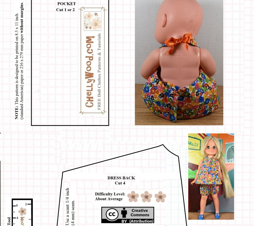 "Please visit ChellyWood.com for free printable sewing patterns to fit dolls of many shapes and sizes. Image shows a free printable sewing pattern for the back portion of a halter-style dress (for 12 inch baby dolls) or summer shirt (for 16"" dolls like the Velvet doll from the Crissy doll family). The website watermark on this free printable sewing pattern for baby dolls and 16-inch dolls says ""ChellyWood.com: Free doll clothes patterns and tutorials."" To see the tutorial that shows you how to make this summer halter top for dolls, please visit ChellyWood.com."