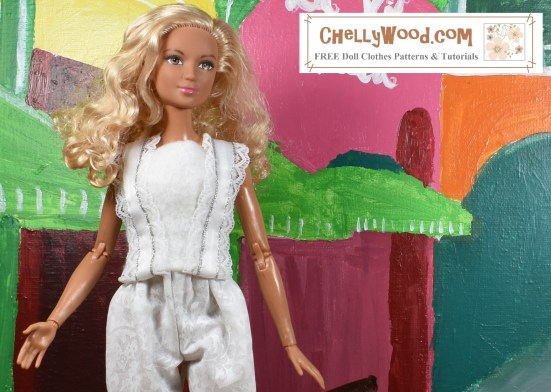 "Please visit ChellyWood.com for FREE printable sewing patterns and tutorials for dolls of many shapes and sizes. The image shows Barbie wearing a Barbie-sized felt summer top with lace straps. The overlay says, ""ChellyWood.com: FREE printable sewing patterns and tutorials for dolls of many shapes and sizes."" This is a preview image of the doll clothes patterns and tutorials that will be posted on ChellyWood.com this week. We will learn how to sew this easy-to-make DIY summer shirt (summer top) which fits a number of 11-inch, 11 and a half inch, and 12 inch fashion dolls including Barbie, made-to-move Barbie, Tammy dolls, Curvy Barbie dolls, and MTM Curvy Barbie dolls. The Barbie doll clothes summer shirt pattern is going to be free and printable like all of my other dolls' clothes patterns."
