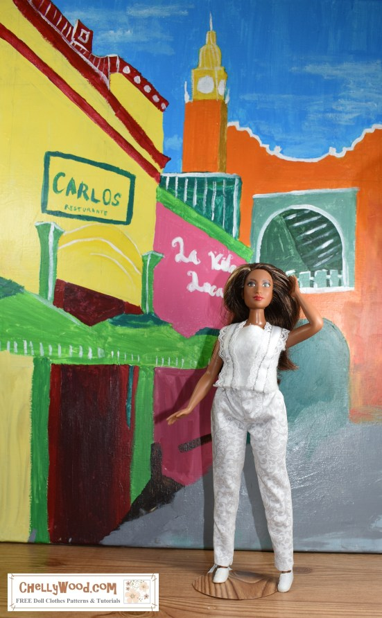 "Please visit ChellyWood.com for FREE printable sewing patterns for dolls of many shapes and sizes. The image shows Mattel's African American Curvy Barbie doll (from the Fashionista line of dolls) wearing a hand-made pair of pants and a hand-made summer-style top with lace straps. She poses with her hand in her hair, in front of a colorful Caribbean city street. The doll's hand-made clothes represent doll clothes patterns that are provided for free on the website ChellyWood.com, and the watermark at the bottom of the picture says ""ChellyWood.com: free printable sewing patterns and tutorials."" This website offers free printable sewing patterns for dolls' clothes to fit dolls of many shapes and sizes, including but not limited to Barbie dolls in a variety of models."