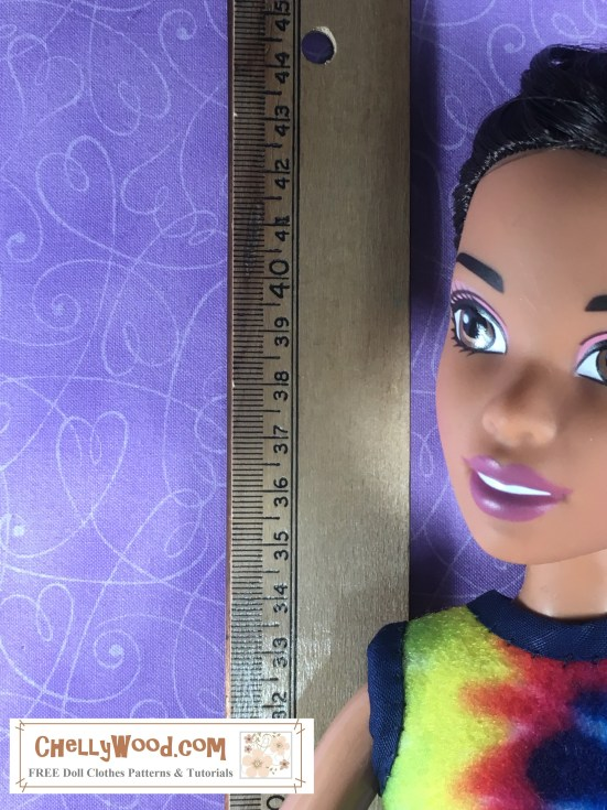 Please visit ChellyWood.com for FREE printable sewing patterns to fit dolls of many shapes and sizes. Image of Endless Hair Princess 43 cm Tall Barbie Doll Next to a Ruler or Measurement Tool. This web page offers measurements for the Endless Hair Princess Barbie's body including height, waist measurements, inseam measurements, shoulder-to-wrist measurements, and other helpful measurements for sewing doll clothes. The website also offers free printable sewing patterns to fit the Endless Hair Princess barbie doll (43 cm tall) FREE patterns.