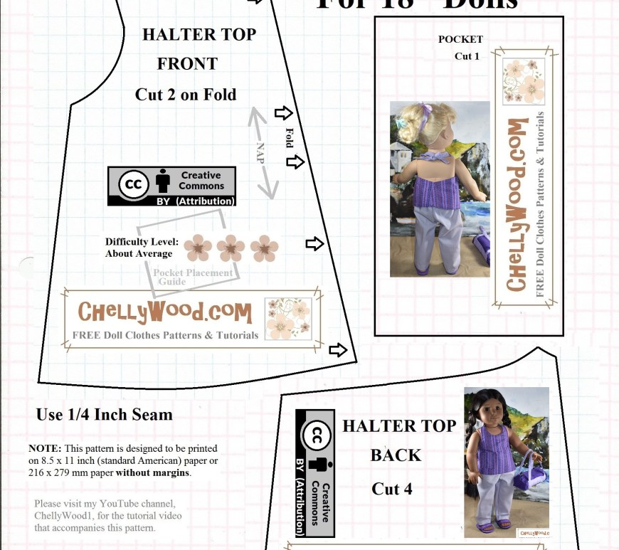 "This image is a free printable pattern for American Girl Doll clothes. specifically, it's a doll's summer shirt that's designed in a halter-top / tank top style with ribbon ties at the neck. You can use Velcro or snaps for the AG doll shirt's closure. It has one pocket. The free pattern is easy to download at ChellyWood.com where you can find more free printable sewing patterns for dolls of many shapes and sizes. This dolls summer top is designed to fit 18"" dolls (46 cm dolls) like the 18 inch American Girl dolls or the 46 cm Madame Alexander dolls. The pattern is marked with the ""Creative Commons Attribution"" symbol, which means you may use these free doll clothes patterns, but please show your appreciation by sharing them on social media."