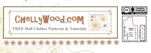 """This image is the page header for ChellyWood.com, a website specializing in offering free, printable sewing patterns to fit dolls of many shapes and sizes. For each free printable doll clothes patterns, there is also a sewing tutorial that offers instructions on how to make each item for a doll's outfit of clothing. Doll clothes patterns are offered to fit dolls ranging from Breyer riders at 6"""" tall to 7"""" dolls to 8"""" dolls to 9"""" dolls to 10"""" dolls like skipper to 11.5 inch dolls like barbie, liv dolls, Momoko dolls, to 12 inch dolls like Ken, GI Joe, and superhero girls. Also included are 13"""" dolls clothes, 14"""" dolls' clothes, 15"""" dolls' clothes, 16"""" dolls' clothes, 17"""" dolls' clothes, and 18"""" dolls' clothes. Free doll clothes patterns are available to fit American Girl dolls, Wellie Wisher dolls, hearts for hearts girls, journey girls, Tall Barbie, Petite Barbie, Curvy Barbie, Tonner dolls, Spin Master Liv Dolls, Spin Master Jake dolls, Madame Alexander dolls, Barbie endless hair kingdom princess dolls, disney princess dolls, Bratz dolls, many vintage dolls including vintage barbie and vintage tammy dolls, and lots of other dolls!"""