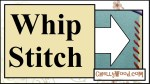 """The image shows an enlarged whip stitch along the edge of a felt swatch which has been whip stitched onto cotton fabric. The whipstitch pattern is at a slight angle, and it uses red yarn to connect the two swatches (the cotton and the felt) to one another. Overlay states, """"Whip Stitch"""" as this is the YouTube header for a tutorial video showing how to make a whip stitch using embroidery floss. This tutorial shows the stitching-by-hand method. It also tells the name of the blog where this instructional youtube whip stitch tutorial video can be found: ChellyWood.com."""