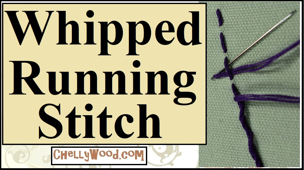"""The image shows a close-up of the whipped running stitch (an embroidery stitch used for decoration). It also has the heading, """"Whipped Running Stitch"""" but it should also be noted that this embroidery stitch is sometimes called the """"cordonnet stitch"""". This is a header for a youtube tutorial video showing how to do the cordonnet stitch (how to do a whipped running stitch). The image also shows the website where more embroidery tutorials like this one can be found: ChellyWood.com."""