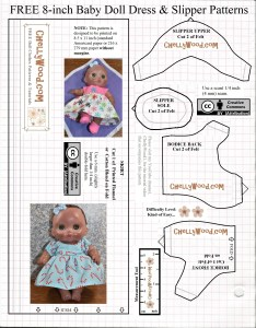 "This is a free, printable sewing pattern that you can print on computer paper, cut out, and sew to fit an 8"" baby doll, like the Lil Cutesies dolls made by JC Toys. It will fit most 8 inch baby dolls. These doll clothes patterns are free at ChellyWood.com which offers them for download with a creative commons attribution watermark. This particular baby doll pattern is the first of two. The second pattern includes the sleeve for this baby doll dress and a free printable baby doll diaper pattern too. This pattern, in addition to the doll dress, also offers a ""slipper"" or shoe for 8-inch baby dolls among its pattern pieces, along with the bodice and skirt patterns to fit 8 inch baby dolls."