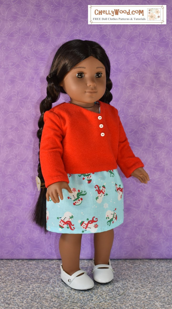 The image shows the Kaya doll from American Girl doll company modeling a handmade velvet shirt with long sleeves and decorative buttons, along with a handmade skirt with an elastic waist. The overlay is a watermark offering the URL of the website where the free patterns for these 18 inch doll clothes can be found: ChellyWood.com.