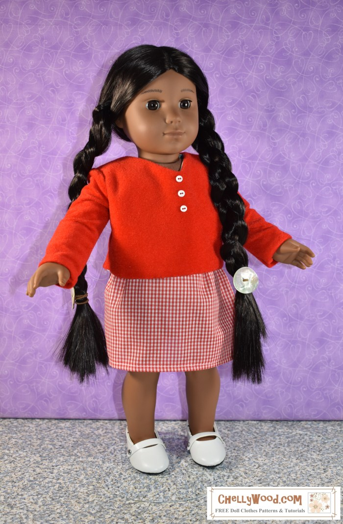 "The image shows an 18 inch American Girl doll (18 Kaya doll) wearing a handmade skirt of gingham print. She also wears a hand-sewn velvet top (shirt) with long sleeves and a v-neck collar. These 18 inch doll clothes are very easy to sew with free patterns from the website ChellyWood.com. Sewing patterns at ChellyWood.com focus on doll clothes and doll crafts for dolls of many shapes and sizes, including the 18"" dolls like American Girl doll and Madame Alexander doll. The image shows the 18"" doll modeling the free doll clothes patterns in a studio with a purple background. This easy-sew skirt uses an elastic waist, and ChellyWood.com not only offers the free patterns for making the whole outfit for 18"" dolls, but it also offers free tutorial videos showing how to sew these simple garments. The image has a watermark that says ""ChellyWood.com: free printable patterns and tutorials."""