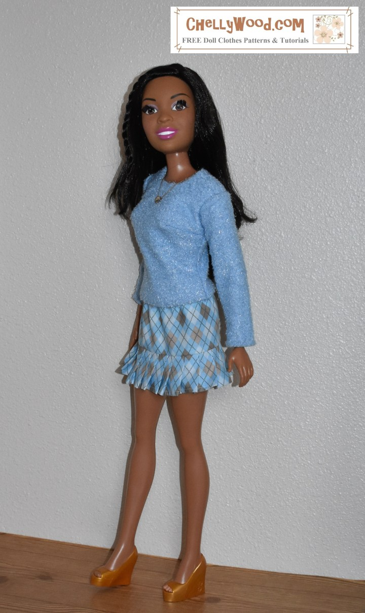 The image shows a 28-inch best fashion friend barbie wearing handmade clothes, made from the free, printable sewing patterns offered at ChellyWood.com. This website offers free patterns for dolls of many shapes and sizes, including the free printable downloadable patterns for this 28 inch barbie skirt and shirt / sweater. The skirt is a miniskirt with pleats. The top is made of sweater fabric lined in flannel. It's a long sleeved shirt for 28 inch barbie dolls. These patterns are free and printable.