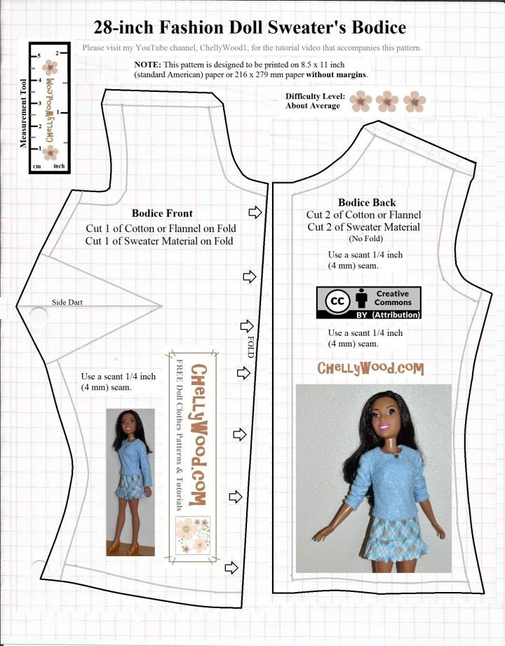 The image shows a free printable pattern (available as a PDF pattern or free MS Word pattern page) for a basic bodice to fit 28 inch dolls like Mattel's 28 inch Best Fashion Friend Barbie dolls. These pattern pieces go with a fitted sleeve to make a sweater or long sleeved shirt for 28 inch dolls. instructional tutorial videos are available to show how to sew the shirt or sweater using this pattern at ChellyWood.com