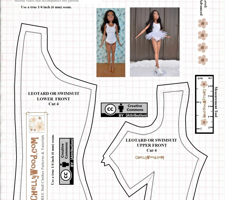 "Please visit ChellyWood.com for FREE printable sewing patterns to fit dolls of many shapes and sizes. The image shows the free pattern for a swimsuit, dance leotard, ballerina tutu, or ice skater's leotard designed to fit 28 inch dolls like the Best Fashion Friend Barbie dolls. This printable pdf pattern includes a ""creative commons attribution"" symbol, which means you're free to use the pattern as long as you tell people where this pattern came from."