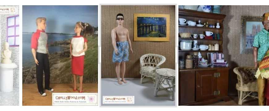 The image shows four different modern Ken dolls modeling handmade doll clothes including a raglan sleeve tee shirt, a tuxedo, a pair of boxer shorts, and a short-sleeve shirt with pants. All of the patterns for making these outfits are free at ChellyWood.com