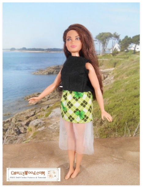 The image shows a Mattel Curvy Barbie doll wearing a handmade skirt with tulle. The fabric uses a shamrock plaid pattern for St. Patrick's day.