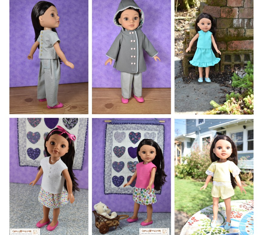 This image shows six different outfits you can sew using the free printable sewing patterns provided at ChellyWood.com. The doll clothes will fit 14 inch dolls like American Girl's Wellie Wishers and Hearts for Hearts Girls (Hearts4Hearts dolls). The six outfits shown include a pair of pants with short-sleeve shirt, a rain coat, a skirt with ruffle and matching sleeveless top, a T-shirt with elastic waist skirt, a felt top with elastic waist skirt, and a lace-sleeve top with matching shorts. Images are watermarked with the URL of the website where you can find these FREE printable sewing patterns for 14-inch dolls: ChellyWood.com (free doll clothes patterns for dolls of many shapes and sizes).