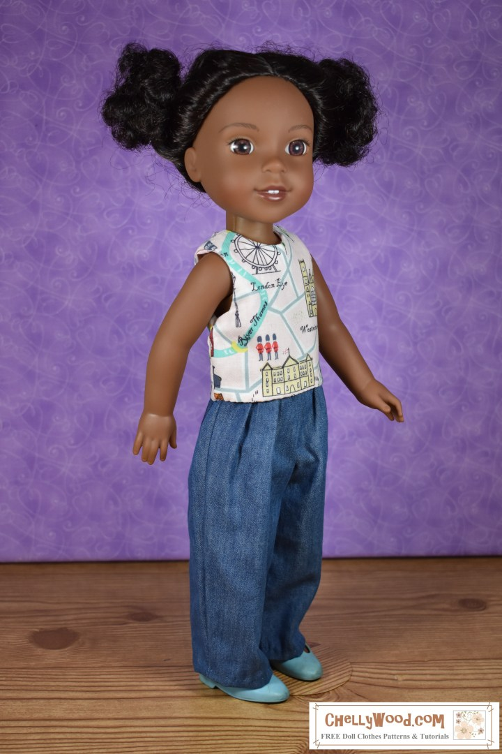 "The image shows a Wellie Wisher doll (Kendall from American Girl) wearing a handmade sleeveless shirt and handmade jeans. Her plastic shoes are MaryJanes. At the bottom of the image, there's a URL for the website where you can print the free pattern for making this entire outfit: ChellyWood.com. The Chelly Wood website's motto is ""free doll clothes patterns and tutorials for dolls of many shapes and sizes."" Patterns are offered as a PDF download and a MS Word document, for easy printing."