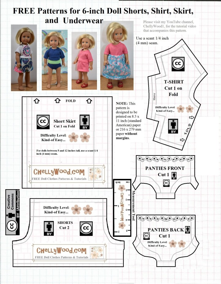 "This image shows a visual preview of the free printable pdf pattern downloadable link that's on the same page. In the preview, we see four images of a tiny 6 inch American girl doll wearing variations of outfits that were made using this pattern. One outfit includes a T-shirt that appears to be screen printed with the words ""All Star"" and this shirt matches the girl-power printed fabric of the shorts the doll wears. There's also an image of the same tee shirt in navy blue solid fabric with a pair of elastic-waist underpants made of the same fabric. The doll models a tee shirt and shorts made of pink jersey fabric as well, and in a fourth image, she wears the tee shirt with a skirt. Each of these 6 inch doll clothes items has a sewing pattern that's visible in the preview image: a pattern for a skirt for 6"" American Girl dolls; a pattern for a T-shirt to fit the 6-inch American Girl dolls; a pattern for shorts to fit the 6 inch AG dolls, and two patterns in the shapes of underpants / knickers that six inch American Girl dolls (AG dolls) can wear. All of these are free printable sewing patterns that you can use, marked with the Creative Commons Attribution mark, with an easy PDF download at ChellyWood.com"