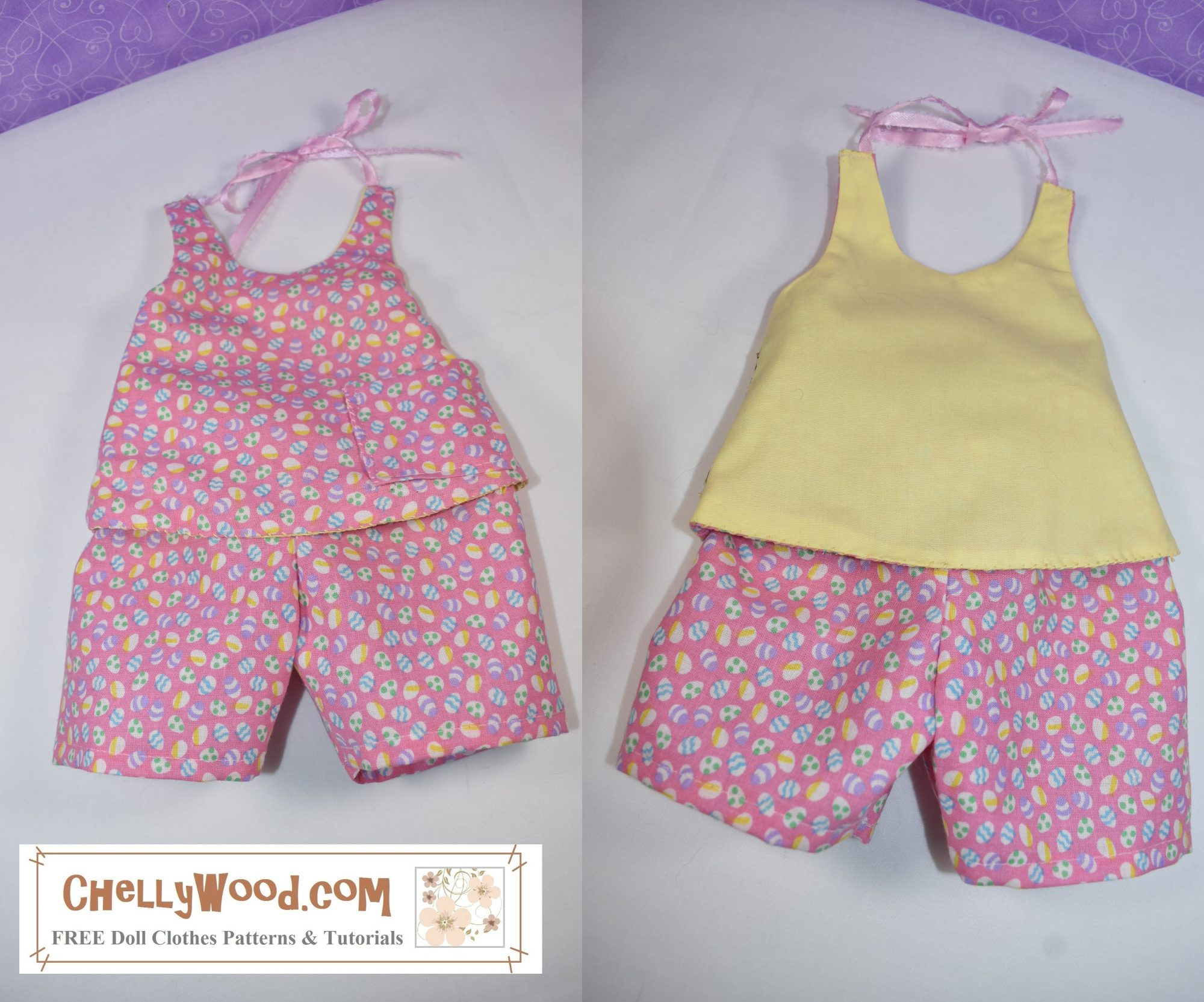 The image shows a reversible halter top and shorts. This outfit is super versatile and will fit a large variety of dolls in the following sizes: 12 inch (baby dolls) 13 inch (baby dolls and some chubby toddler sized dolls), 14 inch, 15 inch, 16 inch, 17 inch, and 18 inch dolls can all fit into this outfit! See images on the page (link provided in the caption) to see all the different dolls that can fit in this outfit. If you're looking for a really versatile doll clothes pattern that will fit almost any doll, this is the one I recommend every time!