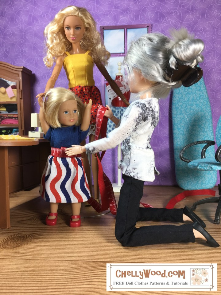 "In this photo, the Chelly Wood sewist doll kneels beside a 6-inch American Girl doll, using a tiny tape measure to take measurements for the little 6"" AG doll's waist. In the background a Made-to-Move Barbie holds the little 6 inch American Girl doll's hand while her sewing measurements are taken. This illustration accompanies a blog post on ChellyWood.com that offers the actual sewing measurements for both the Barbie doll and the mini American Girl doll. The website where you can find the original image is ChellyWood.com, offering free, printable PDF patterns for dolls of many shapes and sizes."