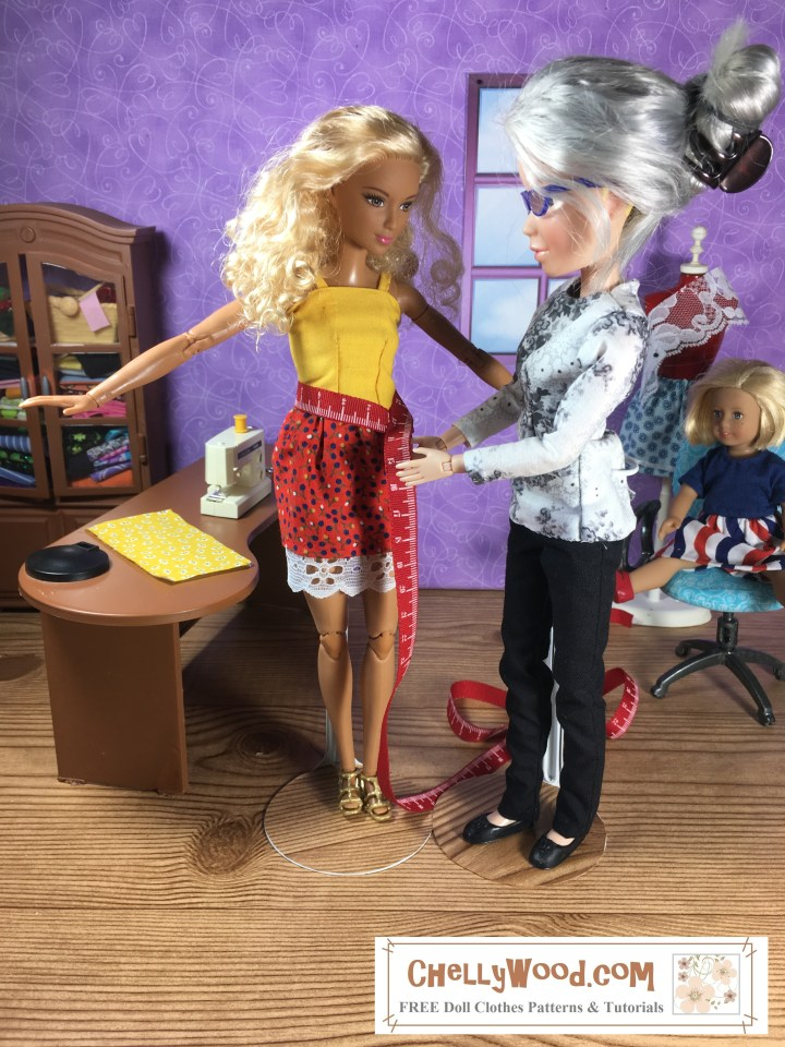 "Here we see a Made-to-Move Barbie being measured for sewing purposes by the Chelly Wood doll sewist. In the background, the little 6"" Kit Kittredge American Girl mini doll is sitting in Chelly Wood's office chair watching the two ladies take measurements with the tape measure. Diorama scene is a 1:6 scale sewing room, complete with a desk, cabinet (filled with fabrics), dress form, ironing board, and a little window. The website where this image comes from is ChellyWood.com, a website offering free printable pdf patterns for doll clothes to fit dolls of many shapes and sizes."