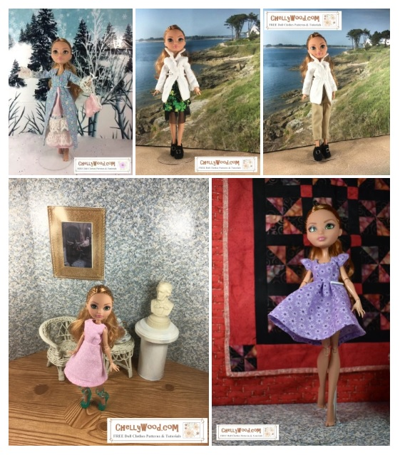 This gallery shot shows some of the free printable sewing patterns that Chelly Wood has designed to fit the Ever After High dolls made by the Mattel toy company. The patterns include three free printable dress patterns, one capri pants pattern with shirt pattern and shoes patterns, plus a skirt and shirt combination pattern, all of which are free and printable on ChellyWood.com and all of which fit the Mattel Ever After High brand of dolls. Visit ChellyWood.com for free printable sewing patterns to fit dolls of many shapes and sizes.