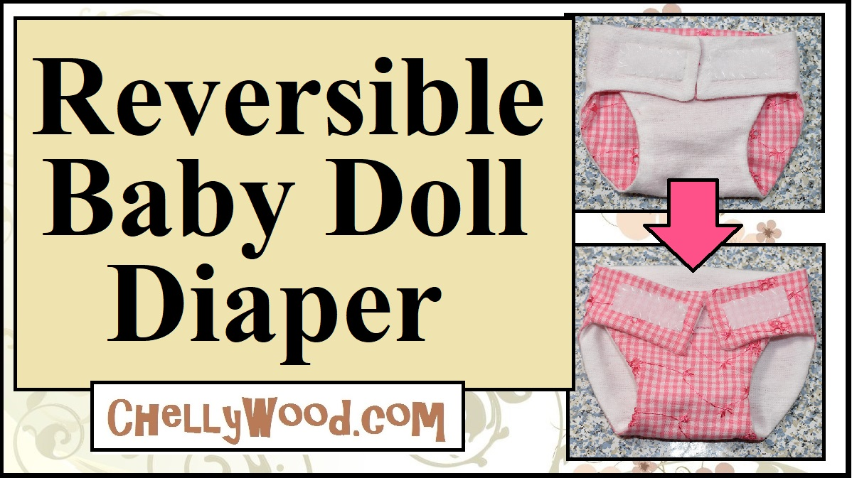 The image shows a baby dolls diaper with white cotton flannel on one side and pink floral print gingham on the other. The straps of the diaper are connected with Velcro closures.