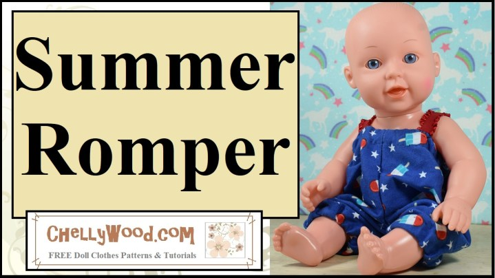 """This image shows a 12 inch baby doll modeling a handmade romper in the colors red, white, and blue, like the US flag. The overlay says """"summer romper"""" and offers the URL of the website where you can download the free PDF pattern for this romper: ChellyWood.com"""