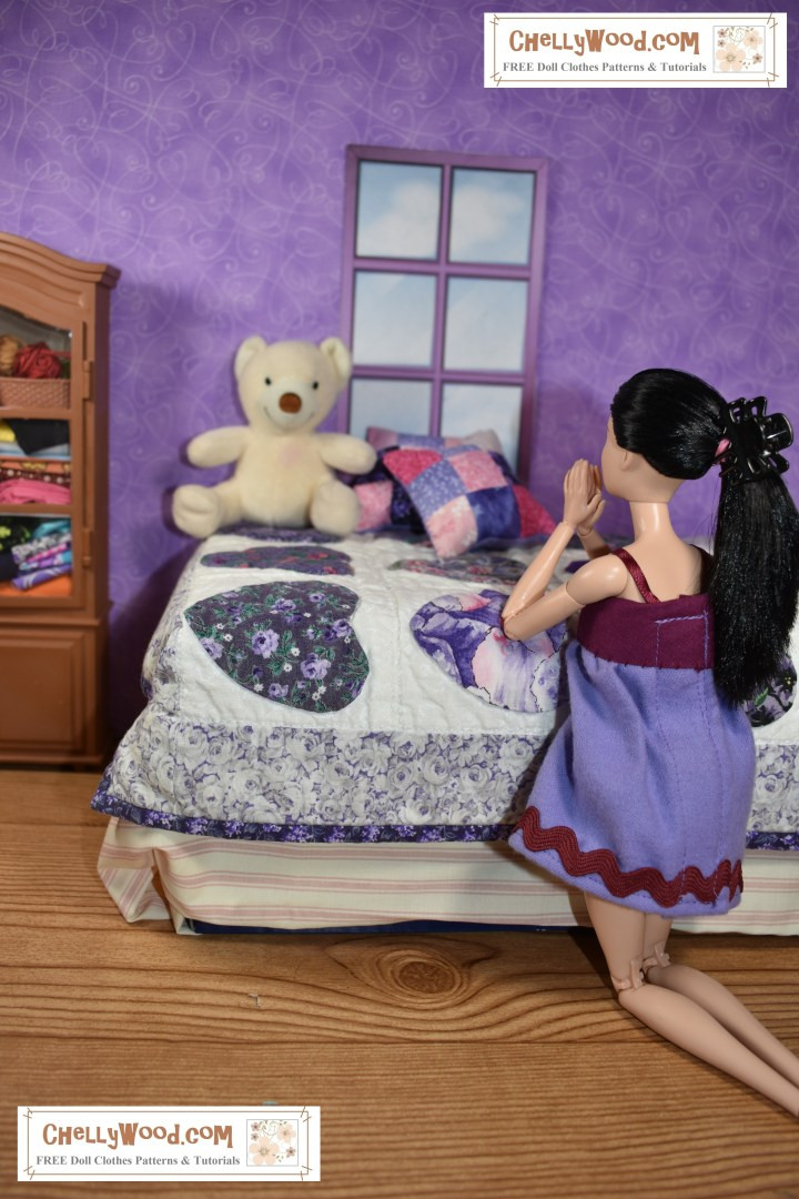 The image shows a Made-to-Move Barbie kneeling beside her bed with her hands folded in prayer. Her bed is decorated with a soft lavender handmade quilt, a quilted pillow of pink and purple, and a fluffy bear.