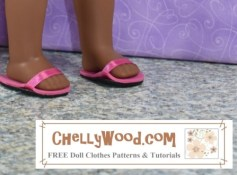 The photo shows a pair of doll feet in easy to make sandals that consist of foam and a ribbon. The sandals are pink with black foam soles.